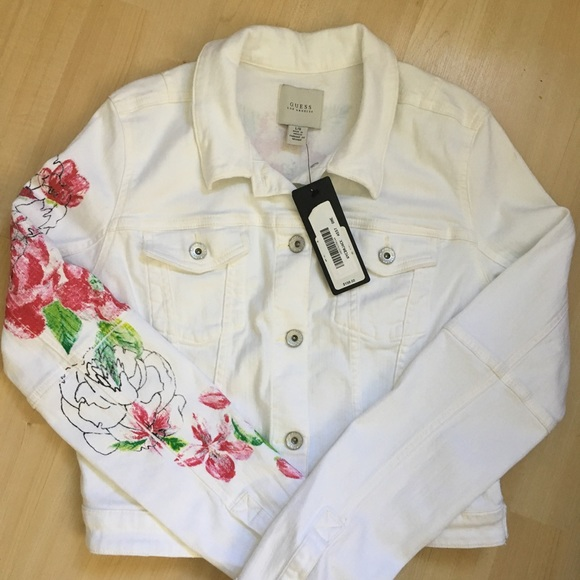 Guess Jackets & Blazers - Guess White Floral Jeans Jacket Large New
